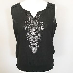 Cato embroidered sleeveless top